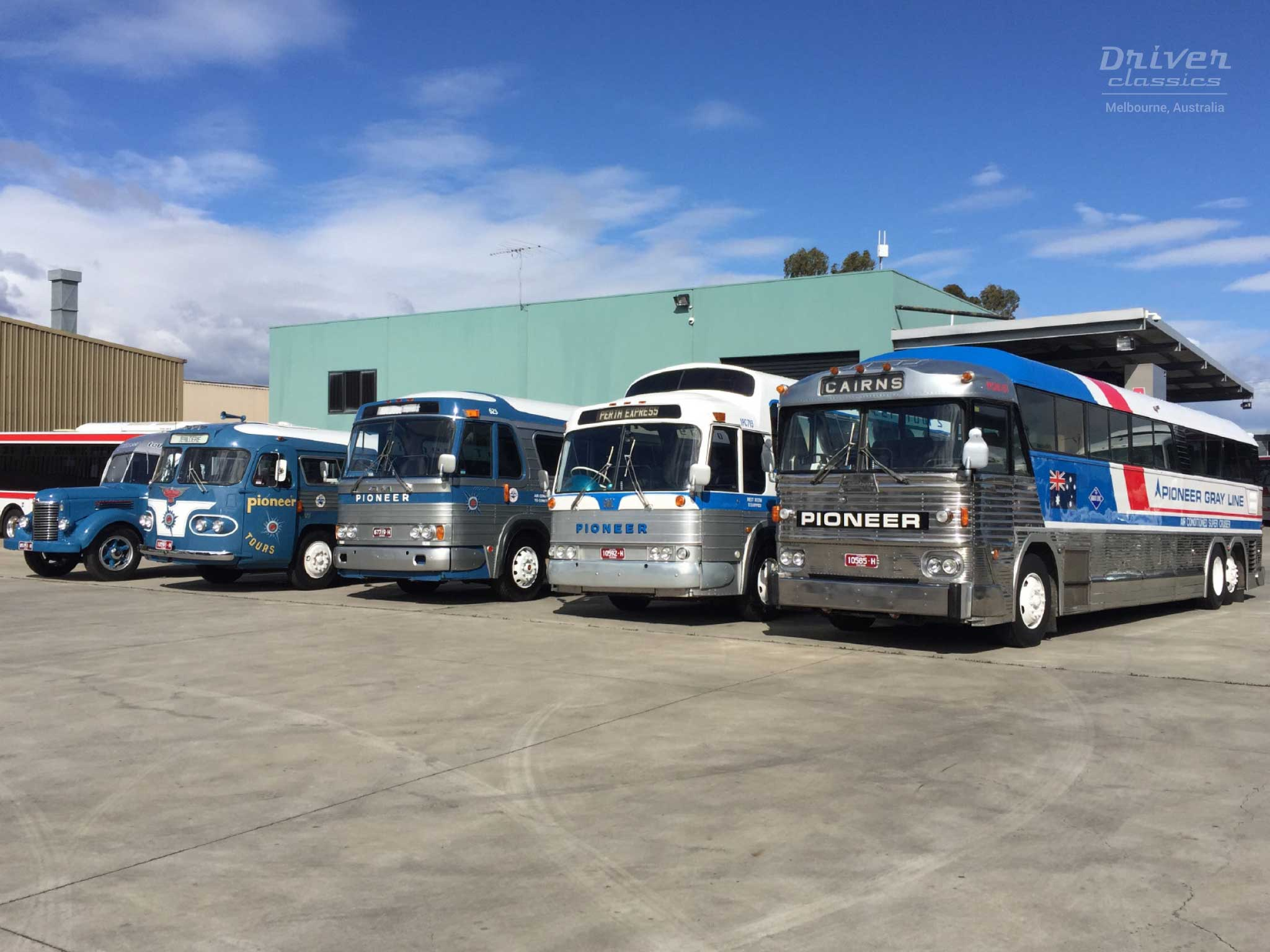 Pioneer coaches line up including 1972 MCI MC7 Bus