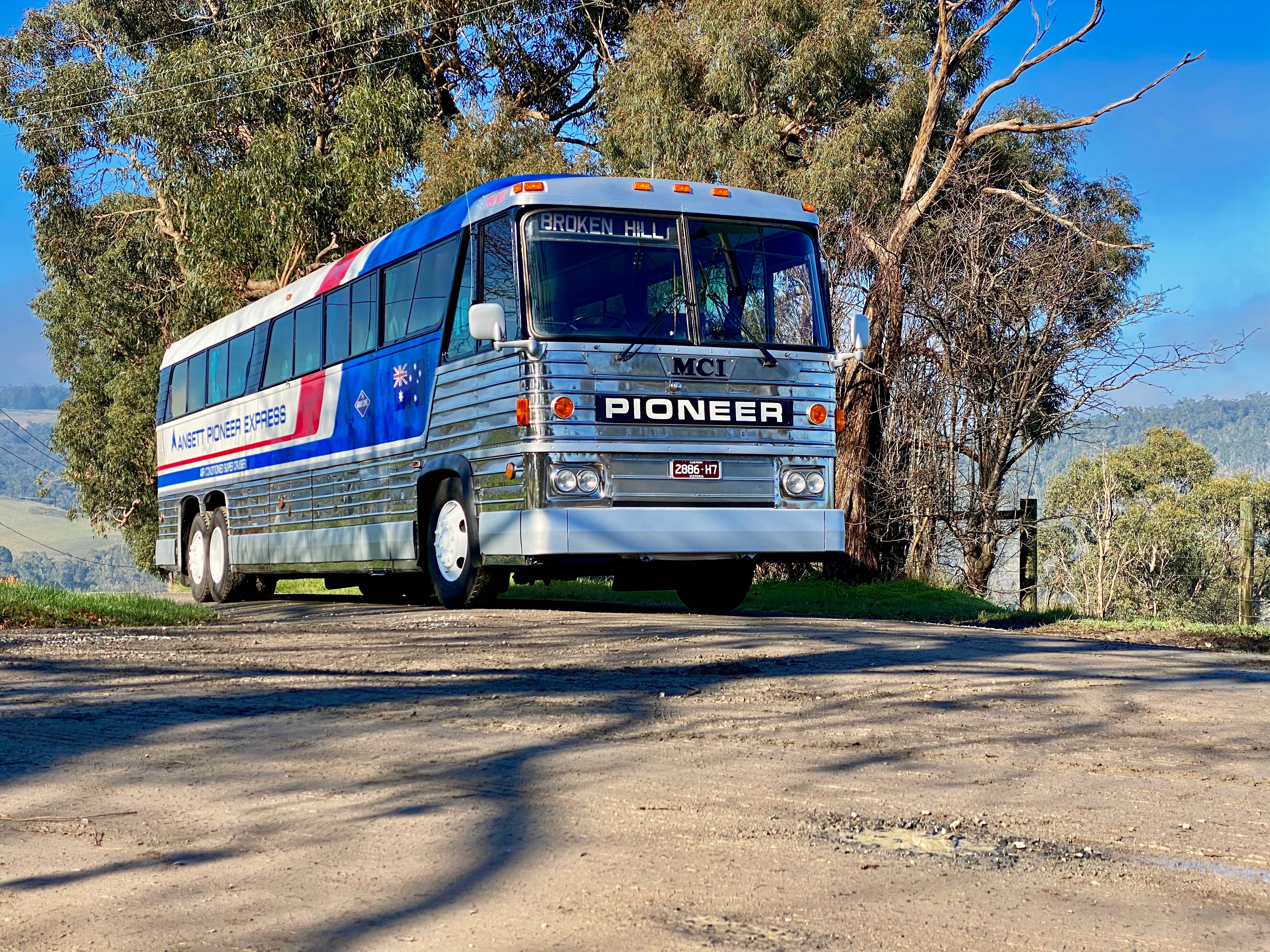 MCI MC8 bus (1976 version), front and side corner, Lysterfield VIC. Photo taken Jul 2020