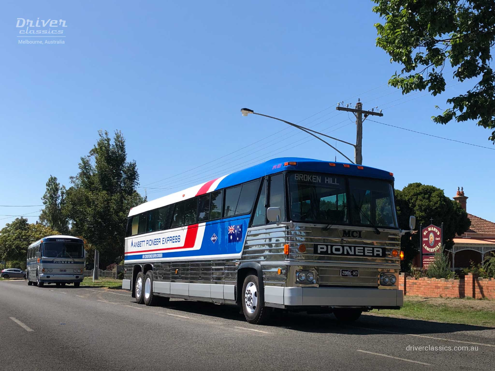 MCI MC8 bus (1976 version), front and door side, Lancefield VIC. Photo taken Feb 2020