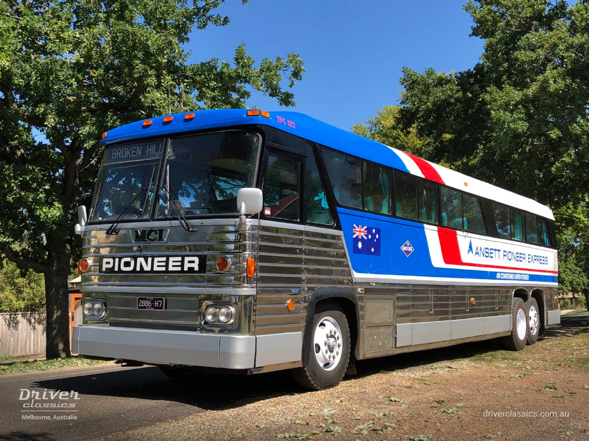 MCI MC8 bus (1976 version), door side and front, Lysterfield VIC. Photo taken Jul 2020