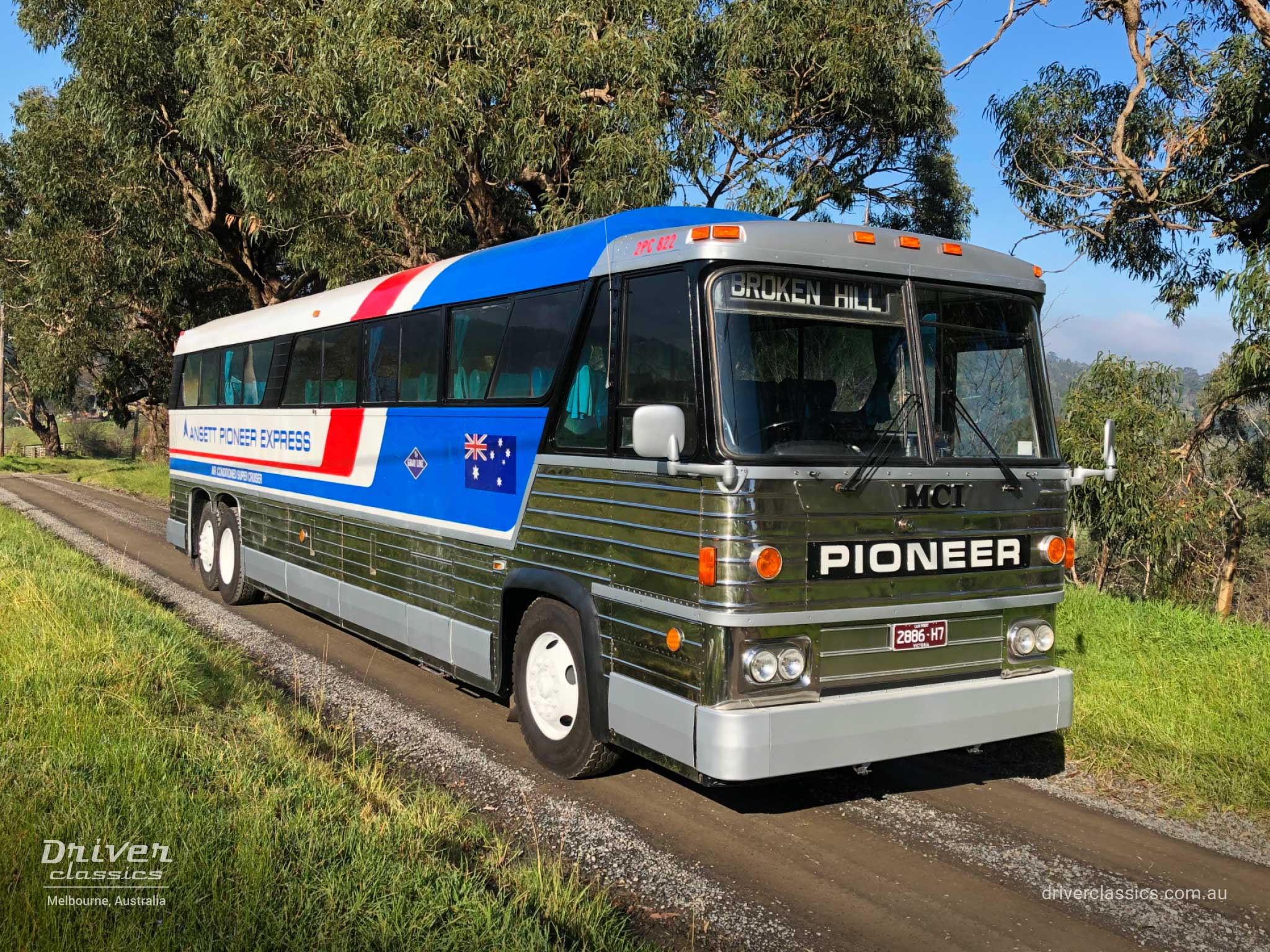 MCI MC8 bus (1976 version), front and road side, Lysterfield VIC. Photo taken Jul 2020