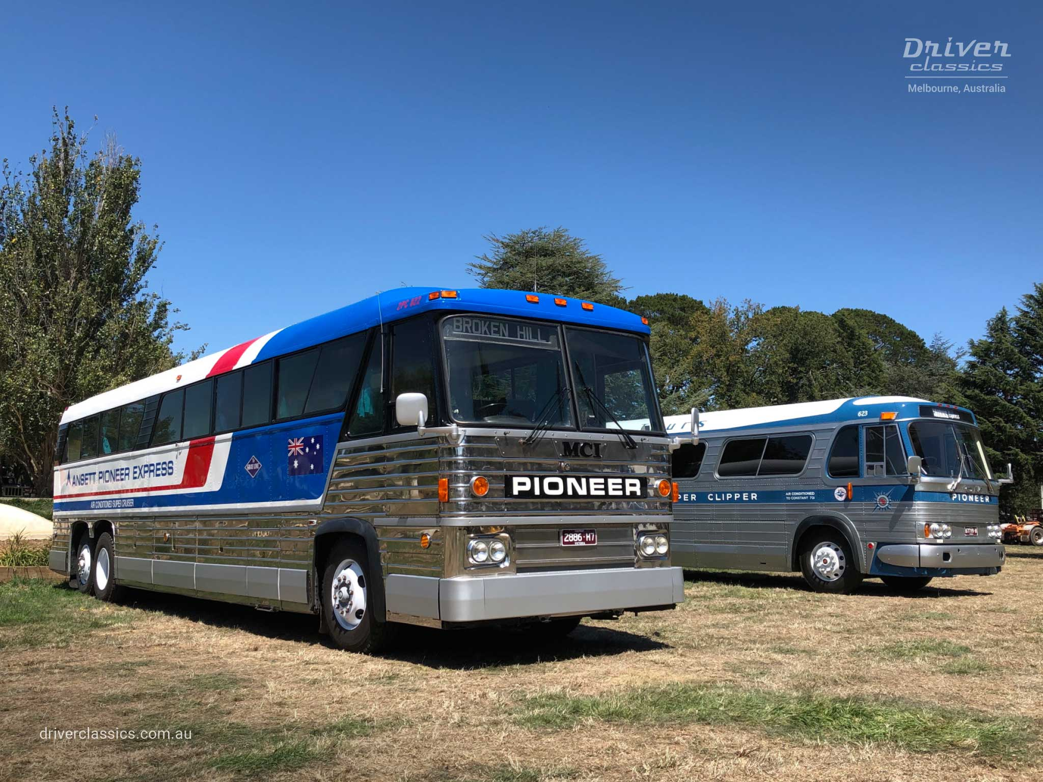 MCI MC8 bus (1976 version), front and road side, with 1961 GM PD4106 bus, at show, Lancefield VIC. Photo taken Feb 2020