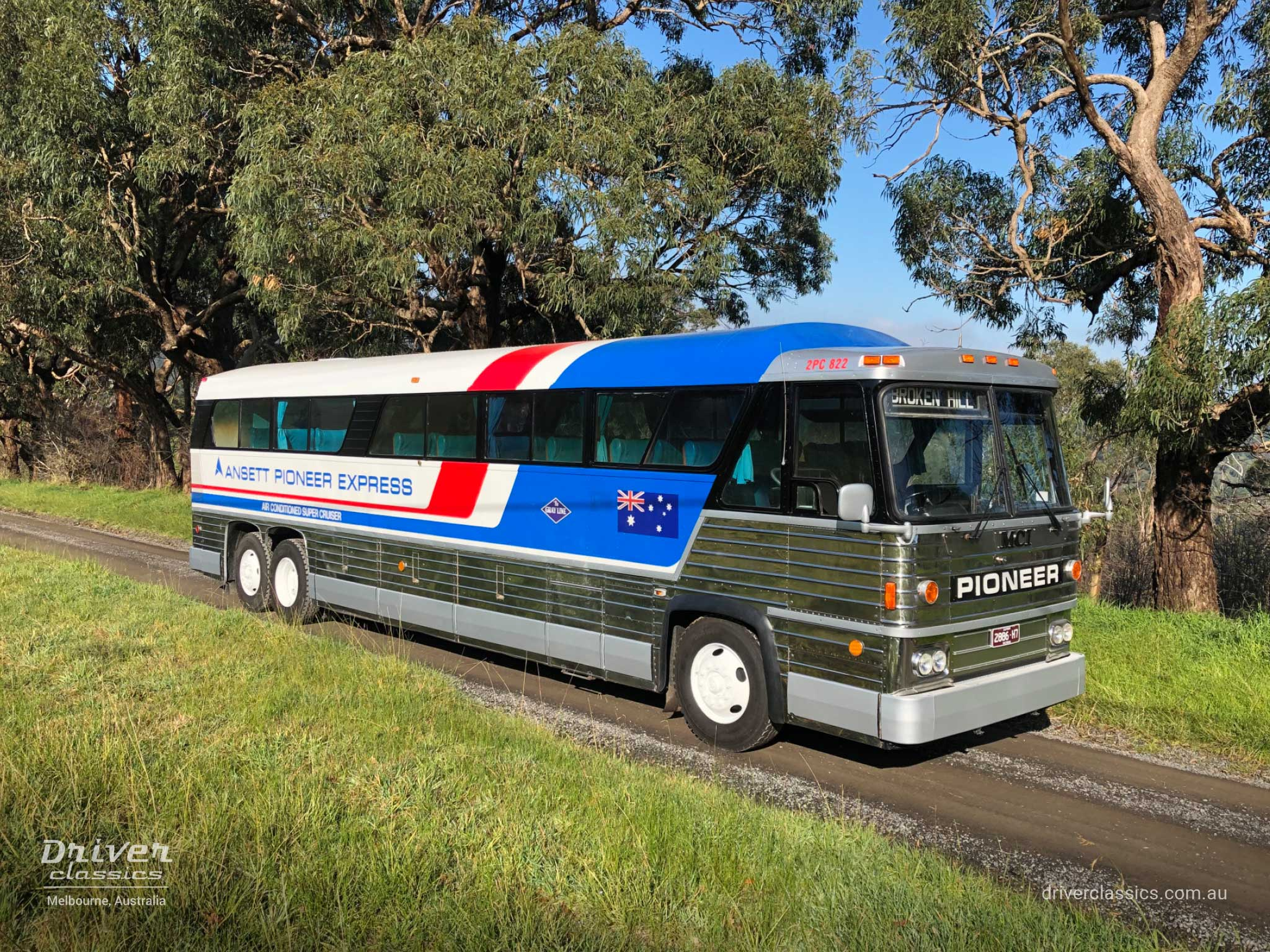 MCI MC8 bus (1976 version), road side and front, Lysterfield VIC. Photo taken Jul 2020