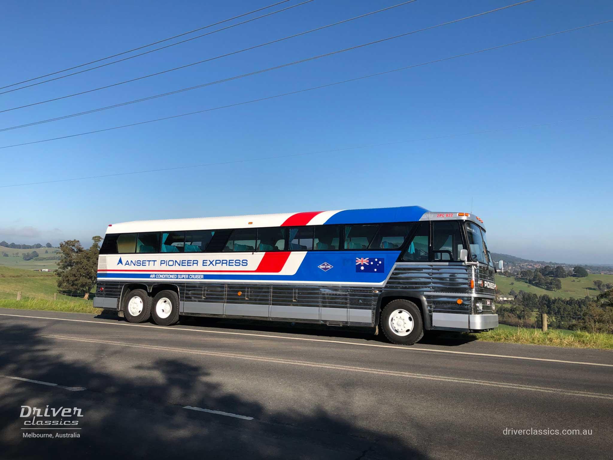 MCI MC8 bus (1976 version), side profile, Glenfern Rd Lysterfield VIC. Photo taken Jul 2020