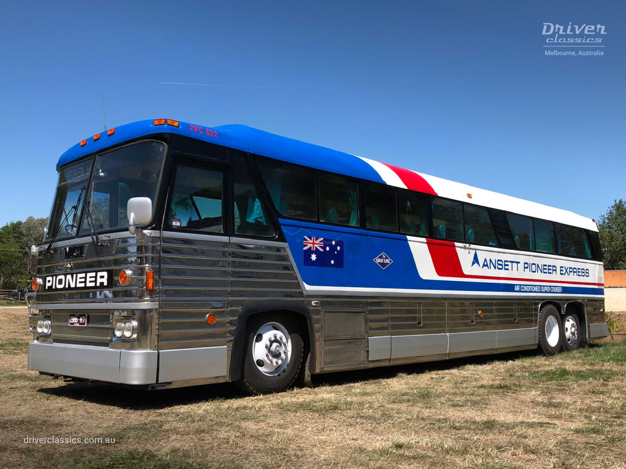MCI MC8 bus (1976 version), side profile with front, Lancefield VIC. Photo taken Feb 2020