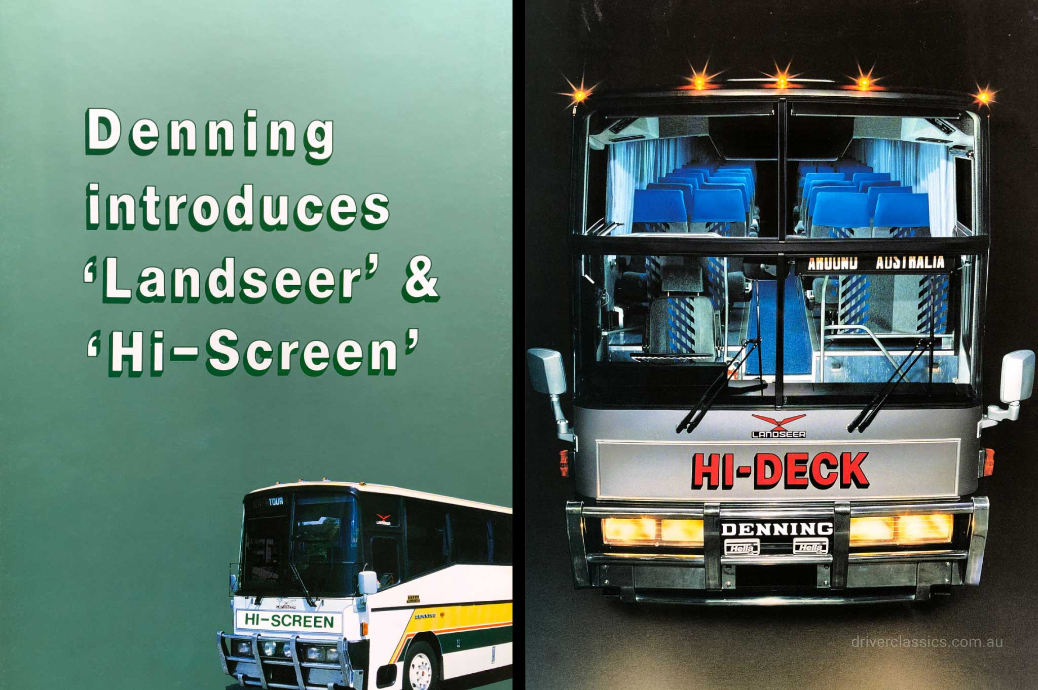 Denning Hi-Screen bus brochure cover and Denning Hi-Deck bus brochure cover