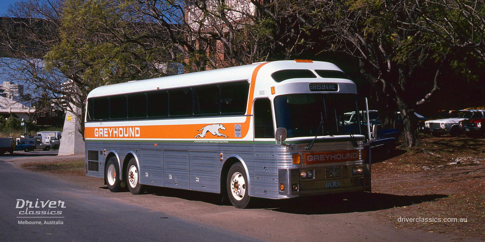 Greyhound 1983 Eagle Model 10 bus, Brisbane QLD, Photo taken September 1984.