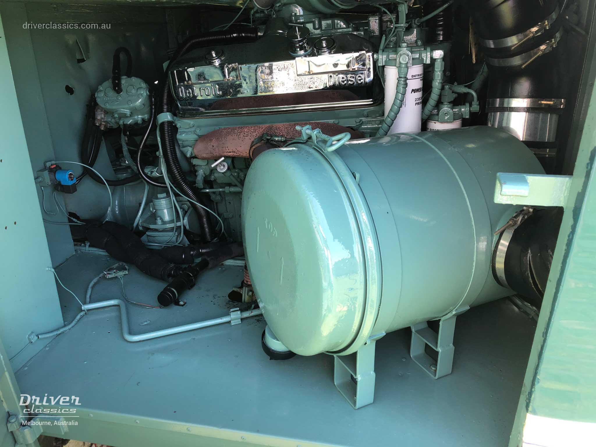 Detroit Diesel 8V71 engine in engine bay of 1983 GM Denning DenAir Mono, photo taken 2018