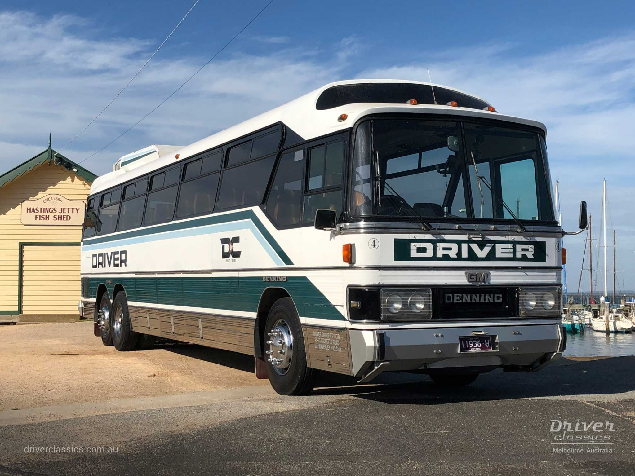 GM Denning DenAir Mono Bus, 1983 version, close up, at Hastings Jetty, Hastings VIC. Photo taken April 2019.