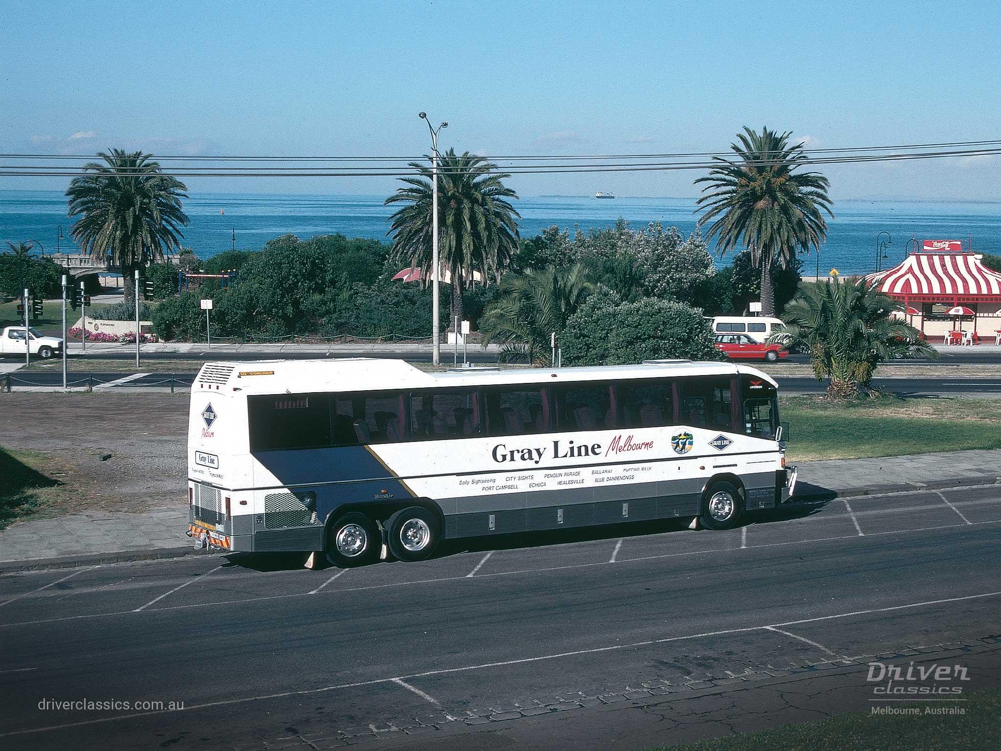 Denning Landseer bus, 1988 version, side and back, StKilda VIC, Photo taken 1993