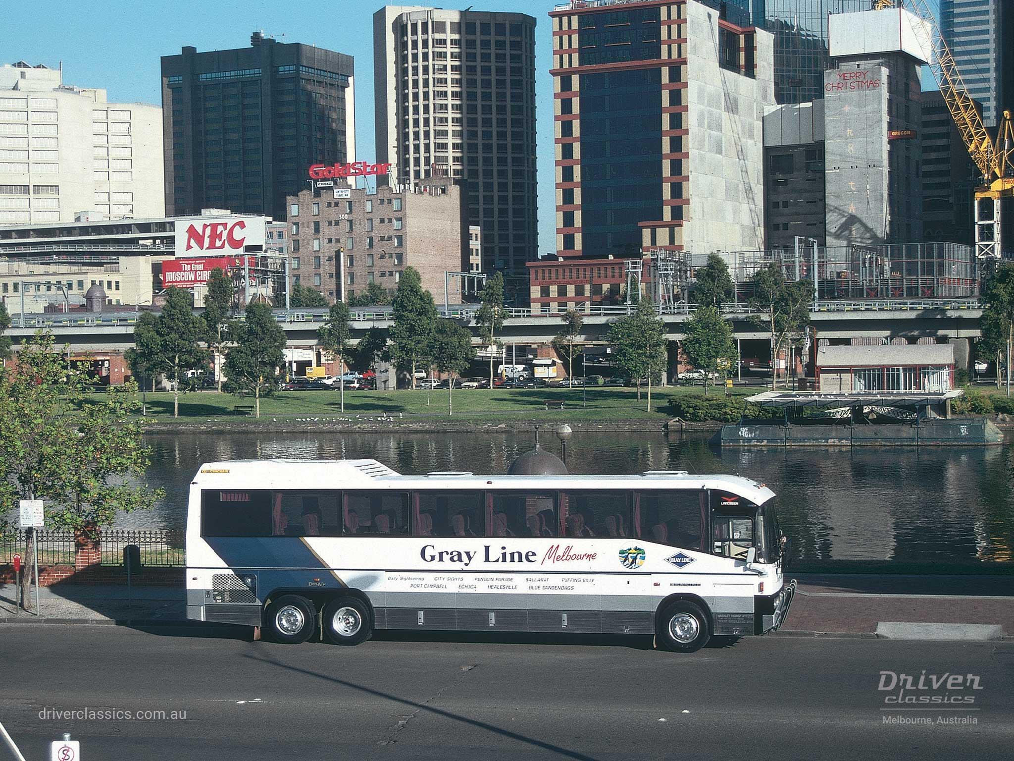 Denning Landseer bus, 1988 version, side profile, beside Yarra River in Melbourne city VIC, Photo taken 1993