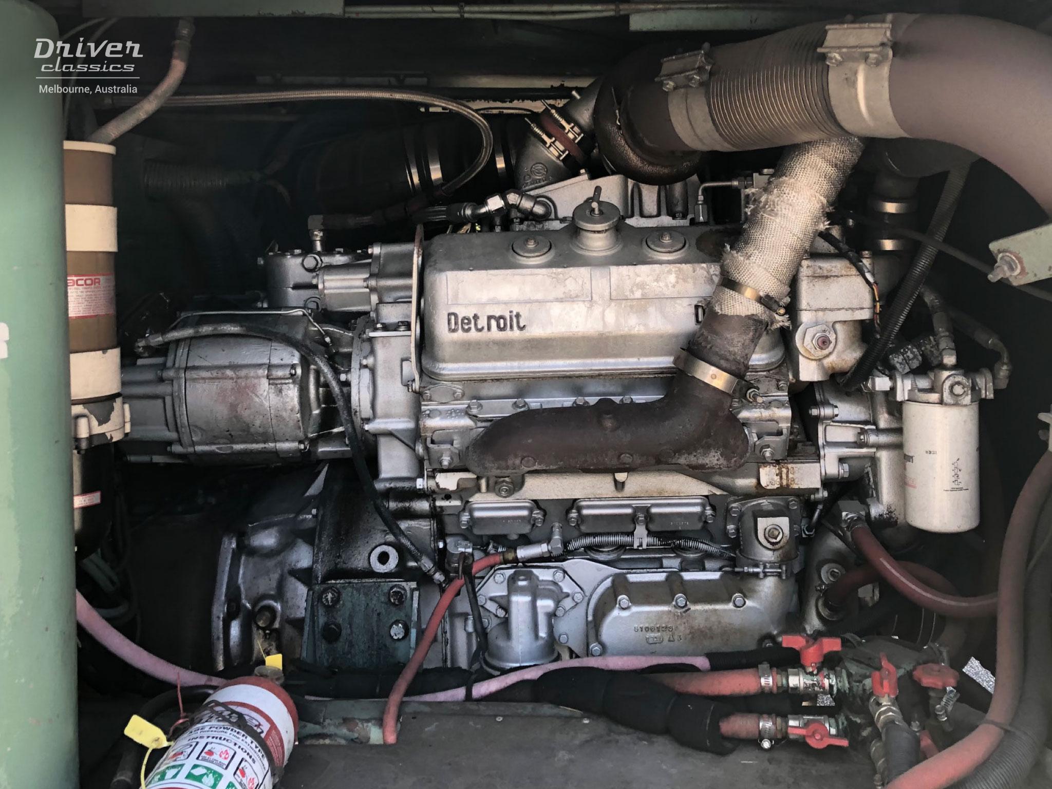 Detroit Diesel 6V92 TTA Silver 350 engine, in Denning Landseer bus, photo taken February 2021