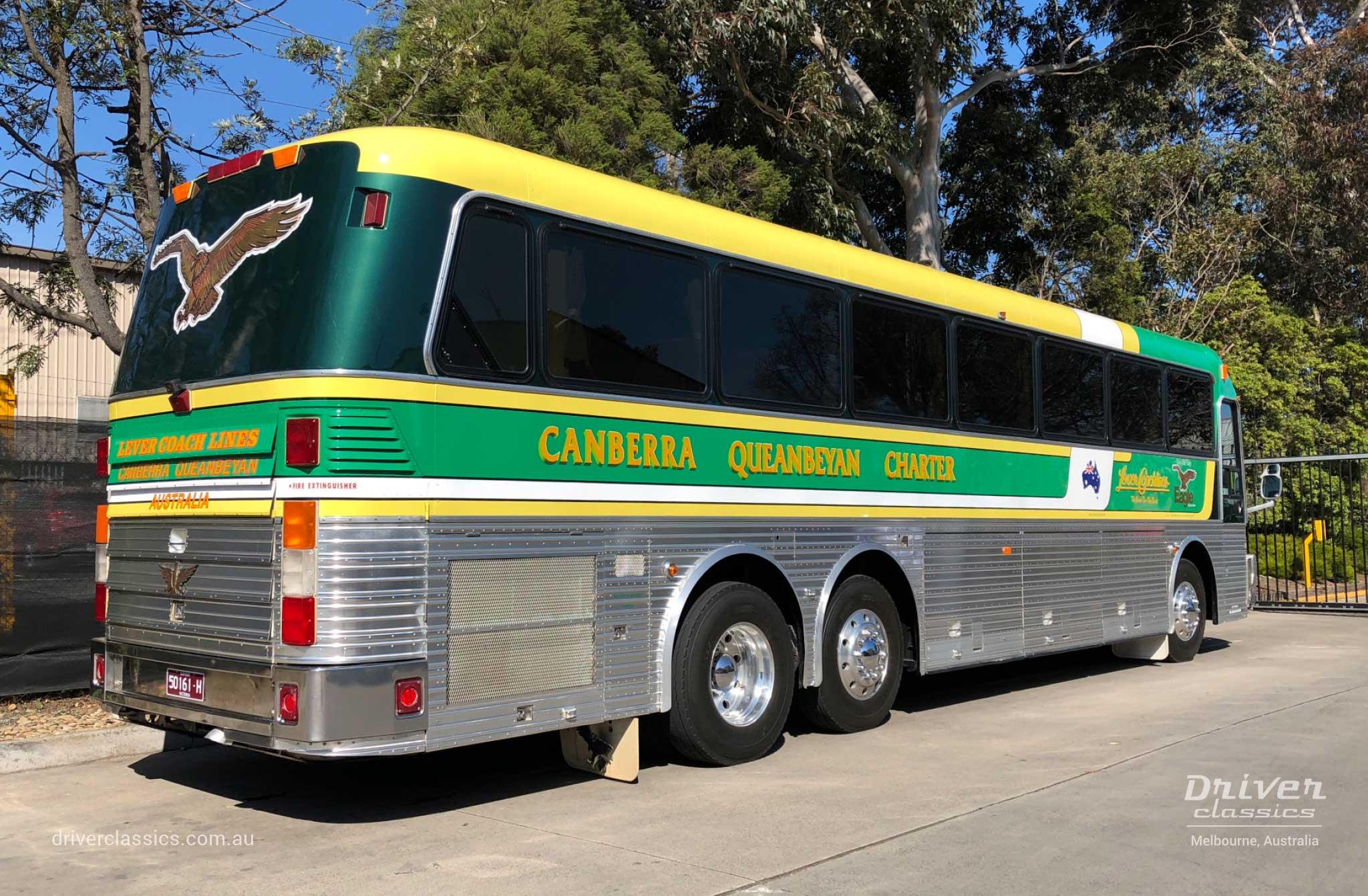 1989 Eagle Model 20 bus (1989 version) side and back, Mt Waverley Victoria, September 2018
