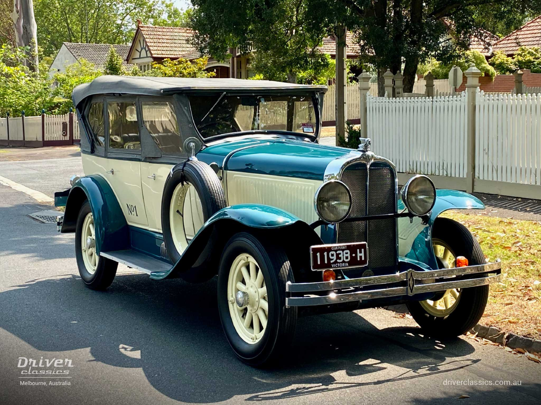 1929 Pontiac 29-6 car, side and front, Camberwell VIC, December 2019