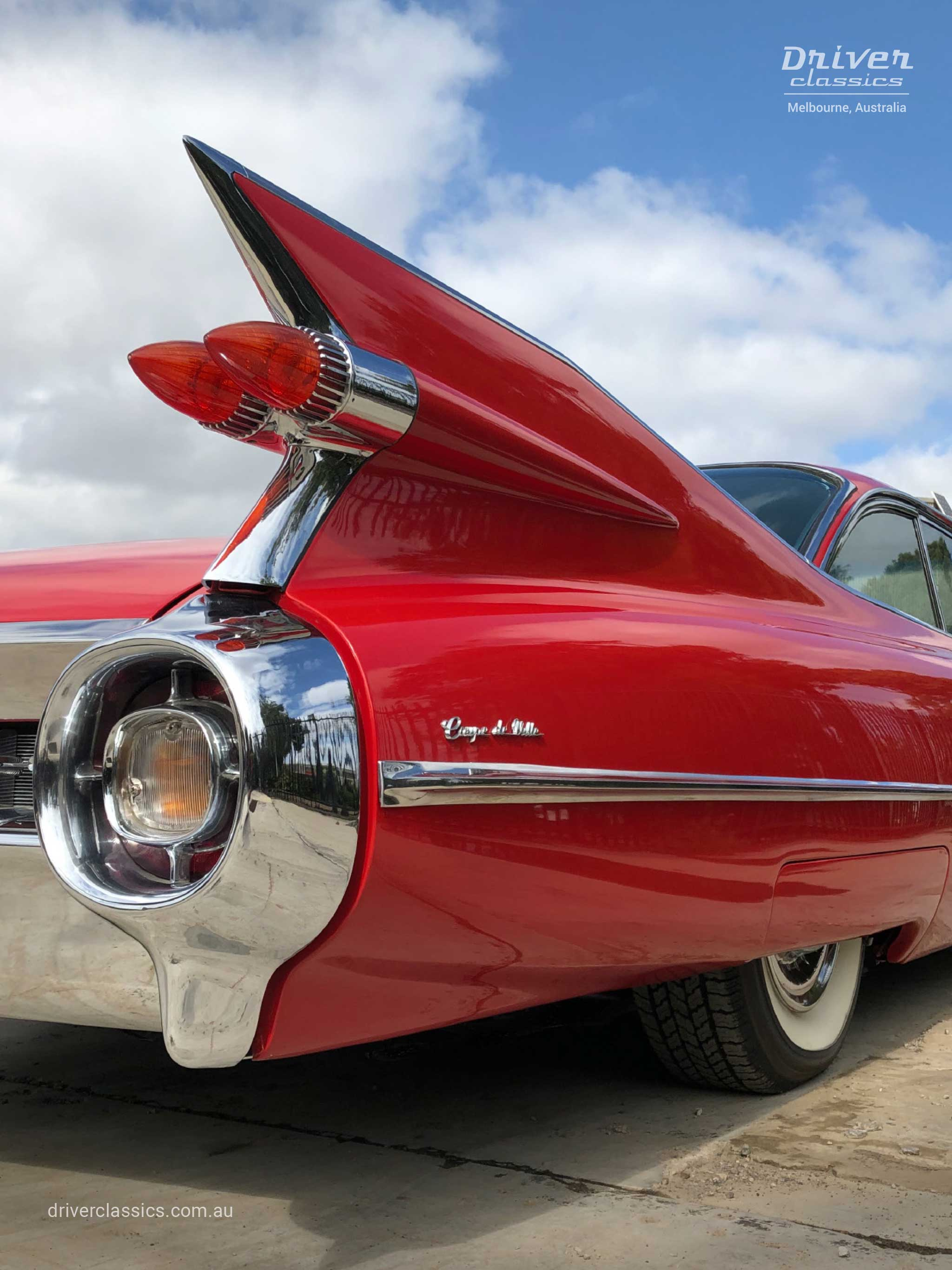 Cadillac Coupe de Ville (1959 version), fin close up, Mt Waverley VIC. Photo taken Jan 2020