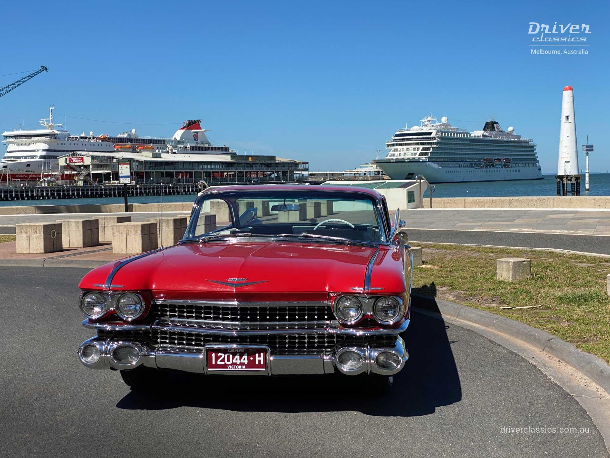 Cadillac Coupe de Ville (1959 version), front angled, Port Melbourne Pier. Photo taken Mar 2020
