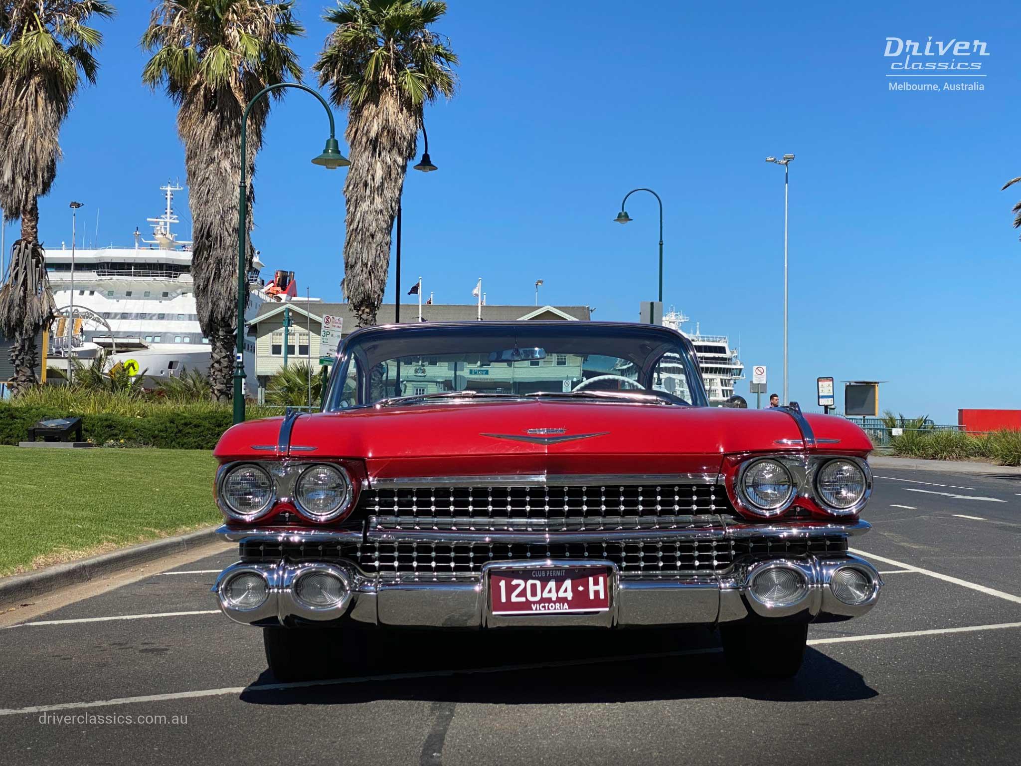 Cadillac Coupe de Ville (1959 version), front, Port Melbourne Pier. Photo taken Mar 2020