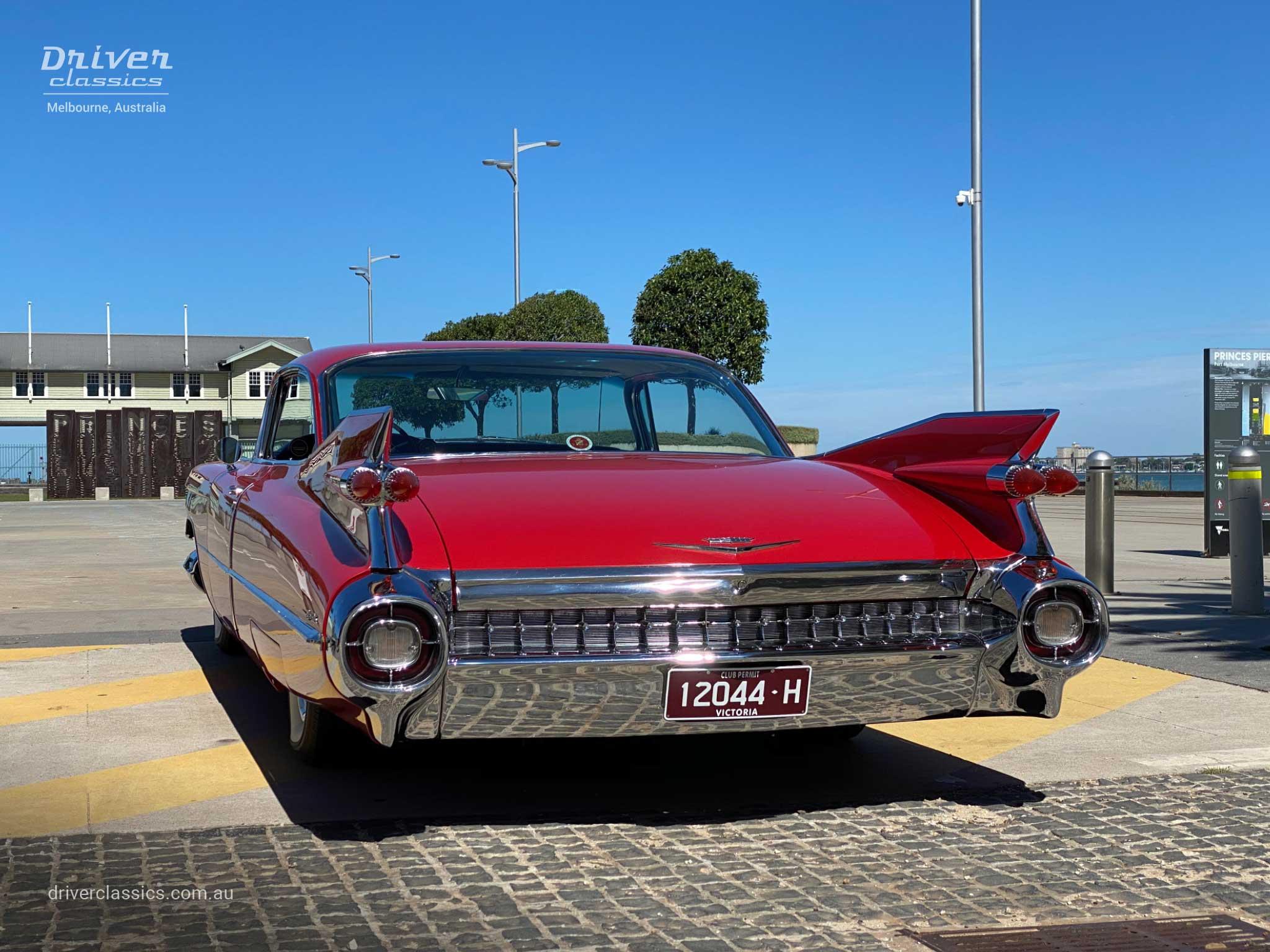 Cadillac Coupe de Ville (1959 version), rear, Port Melbourne Pier. Photo taken Mar 2020