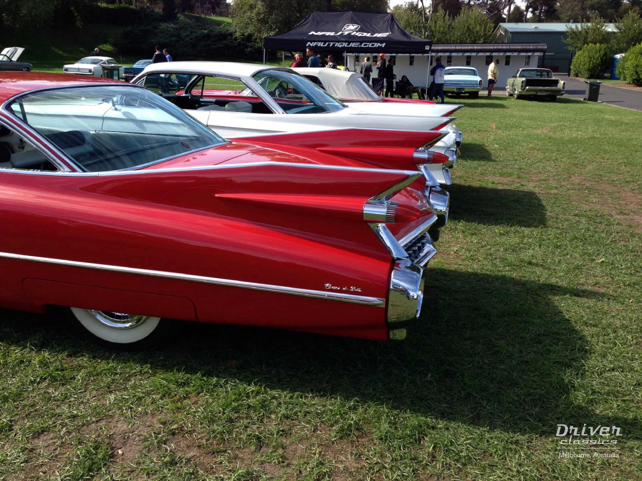 Cadillac Coupe de Ville fins 1959 and 1961, Flemington VIC, April 2014