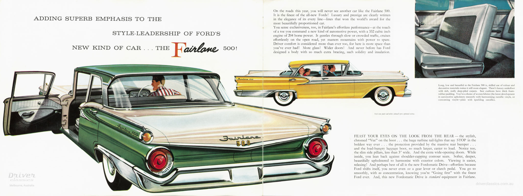 Page spread from 1959 Ford Fairlane 500 Brochure. Adding superb emphasis to the style leadership of Ford's new kind of car... the Fairlane 500.
