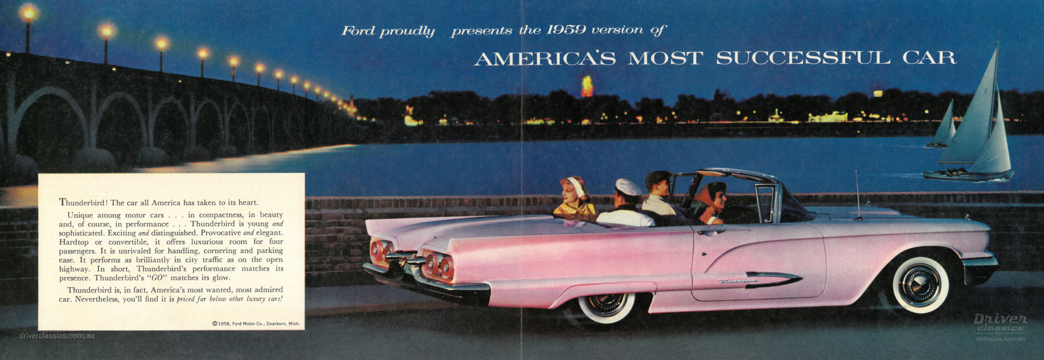 Page from of 1959 Ford Thunderbird brochure, side profile of tbird