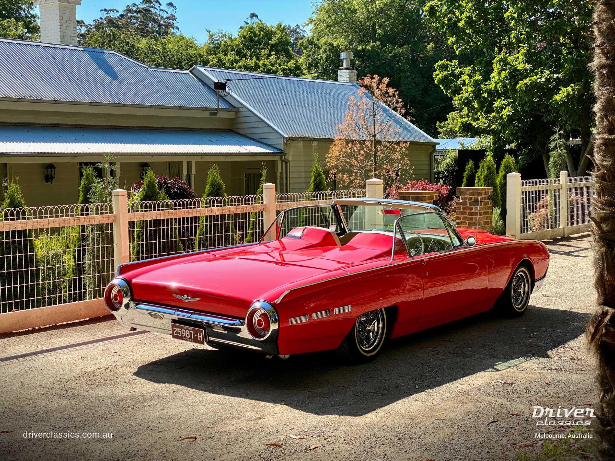 Ford Thunderbird Roadster 1962 version, back and side, Dandenong Ranges, Photo taken Dec 2019