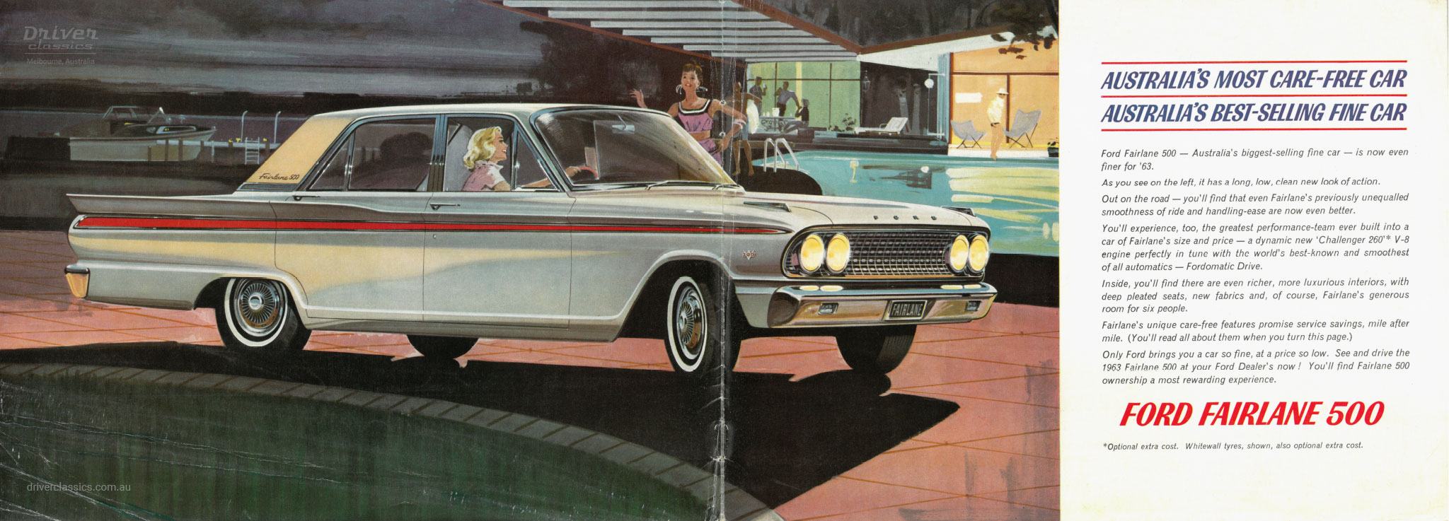 Page from 1963 Ford Fairlane 500 brochure