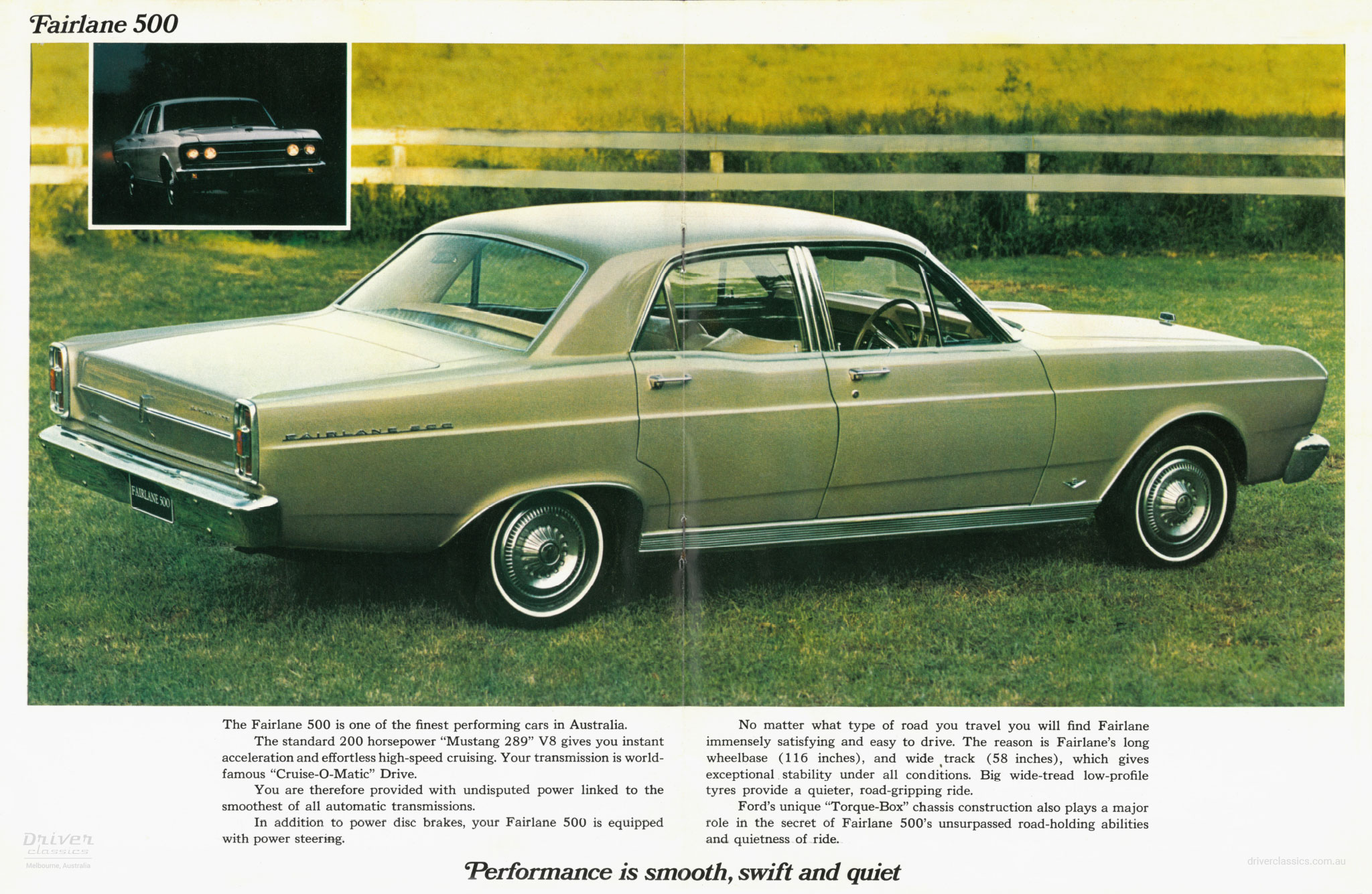Page from 1967 Ford Fairlane 500 brochure