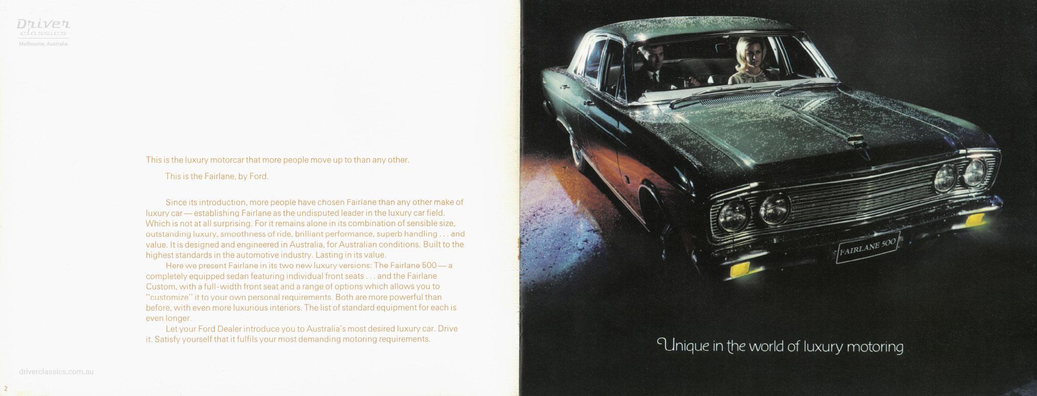 Page from 1968 Ford Fairlane 500 brochure, showing front