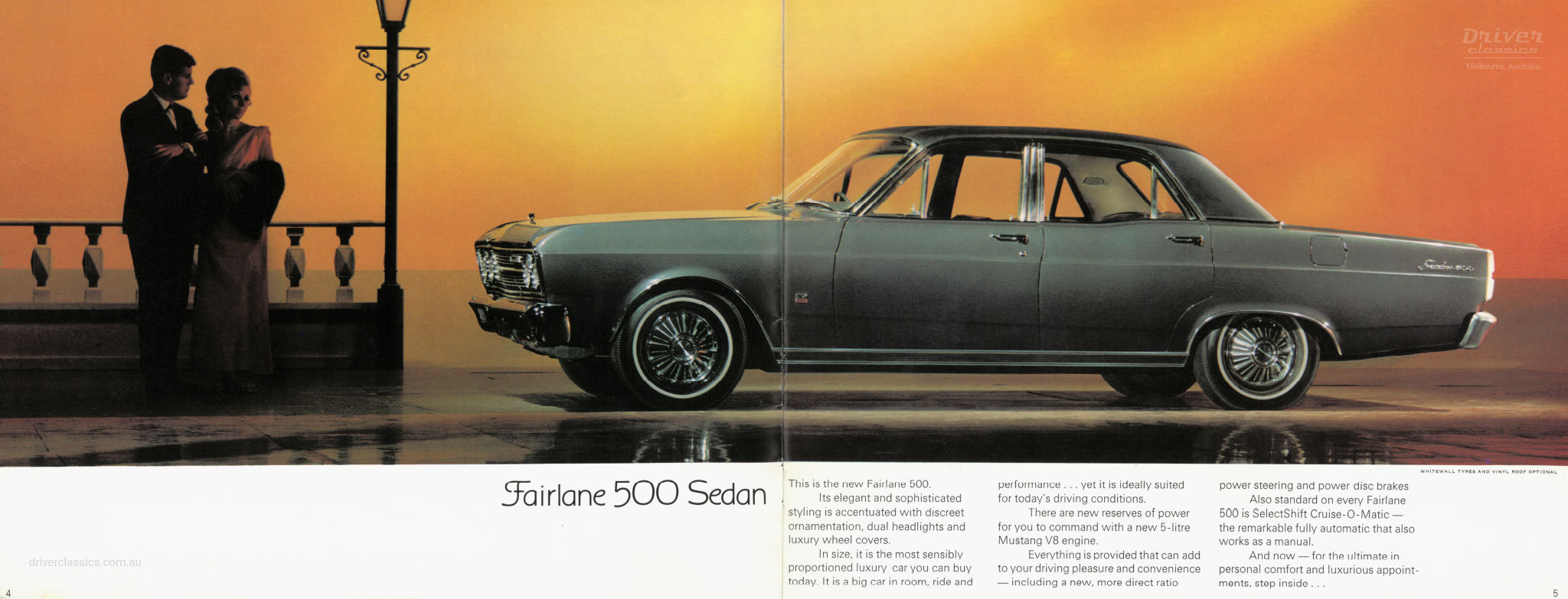 Page from 1968 Ford Fairlane 500 brochure, showing side profile