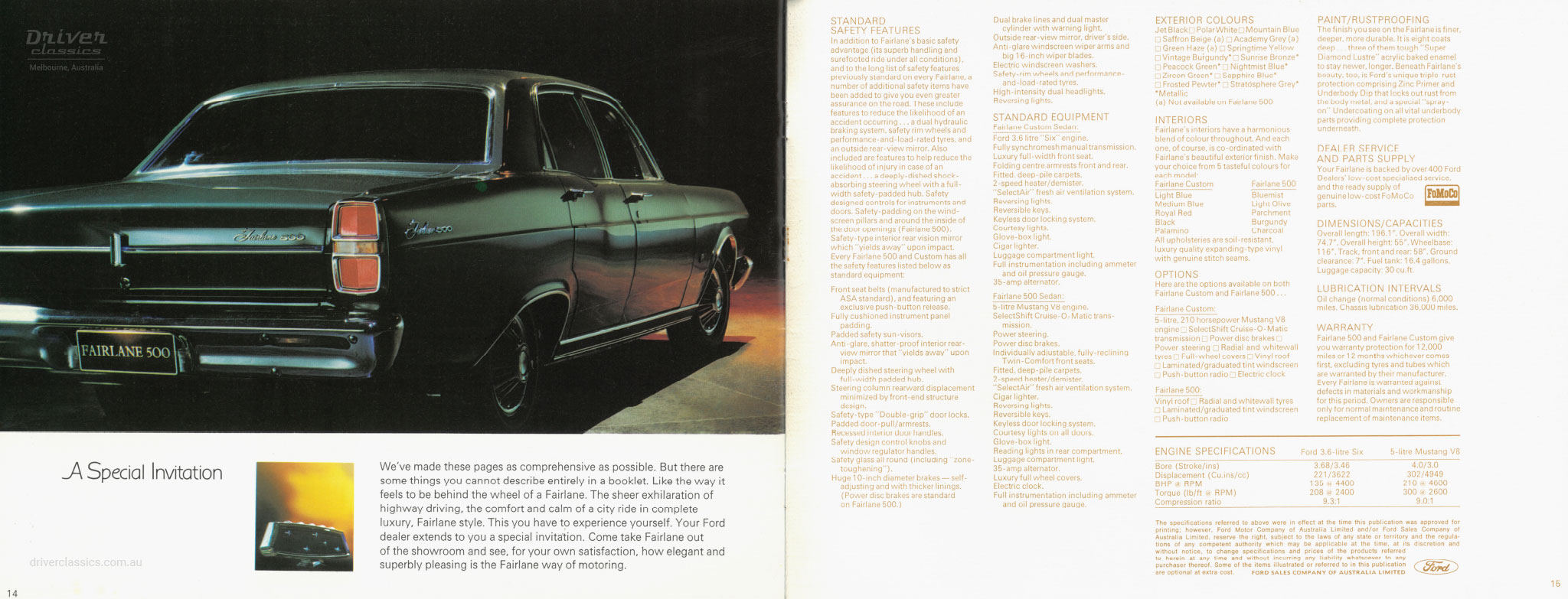 Page from 1968 Ford Fairlane 500 brochure