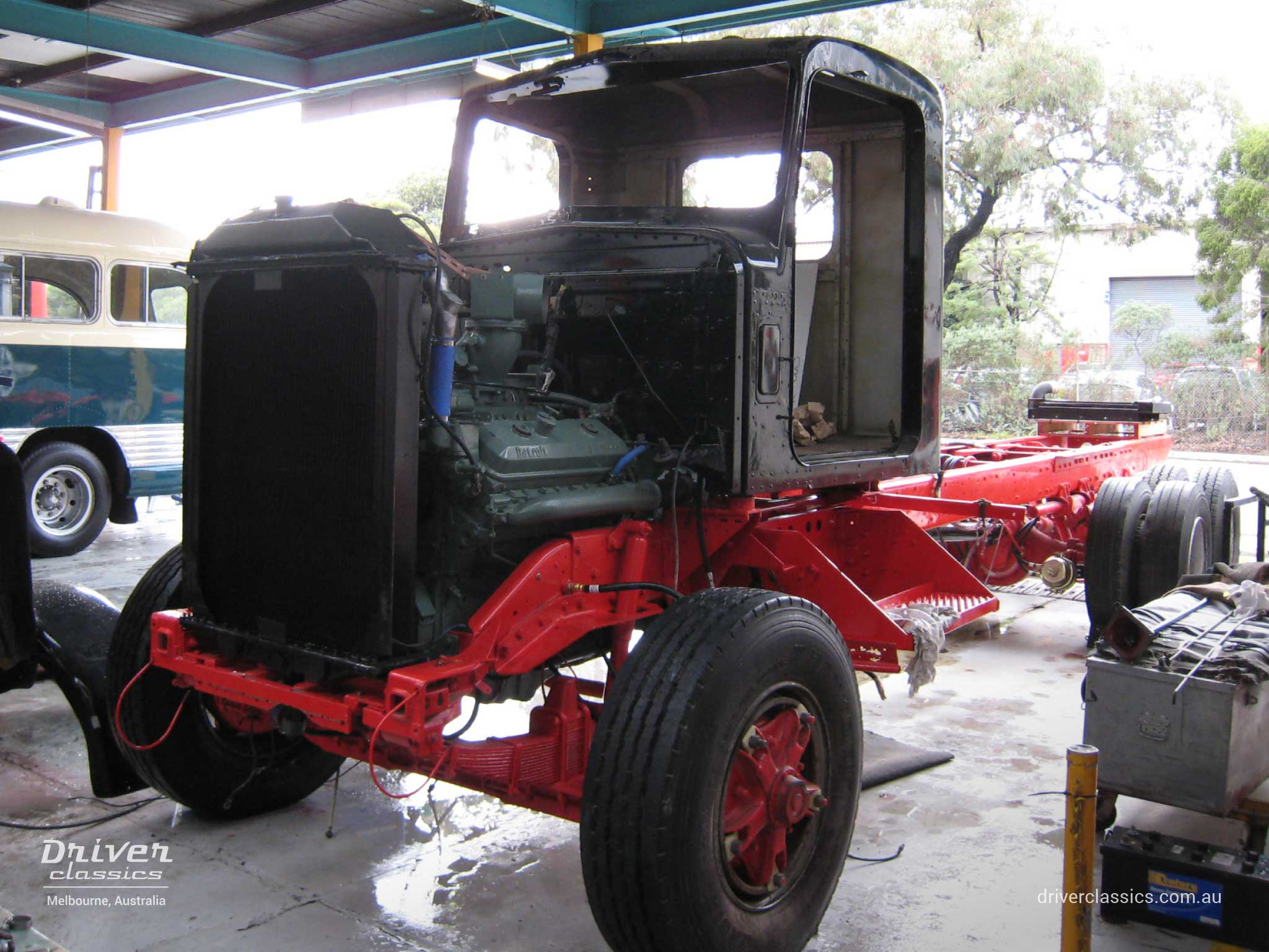1977 Kenworth W925 truck body assembly during restoration