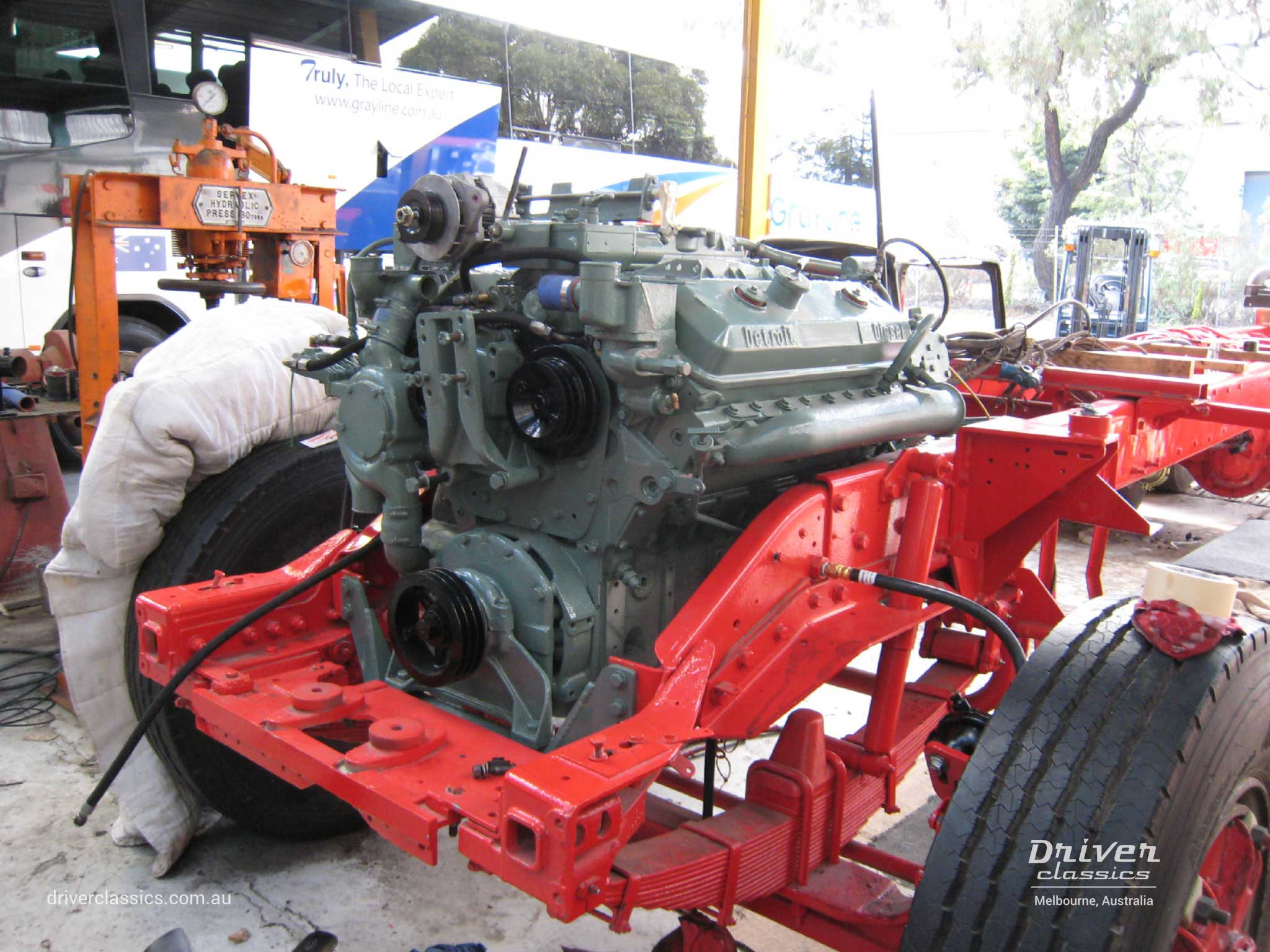 1977 Kenworth W925 engine installation during restoration