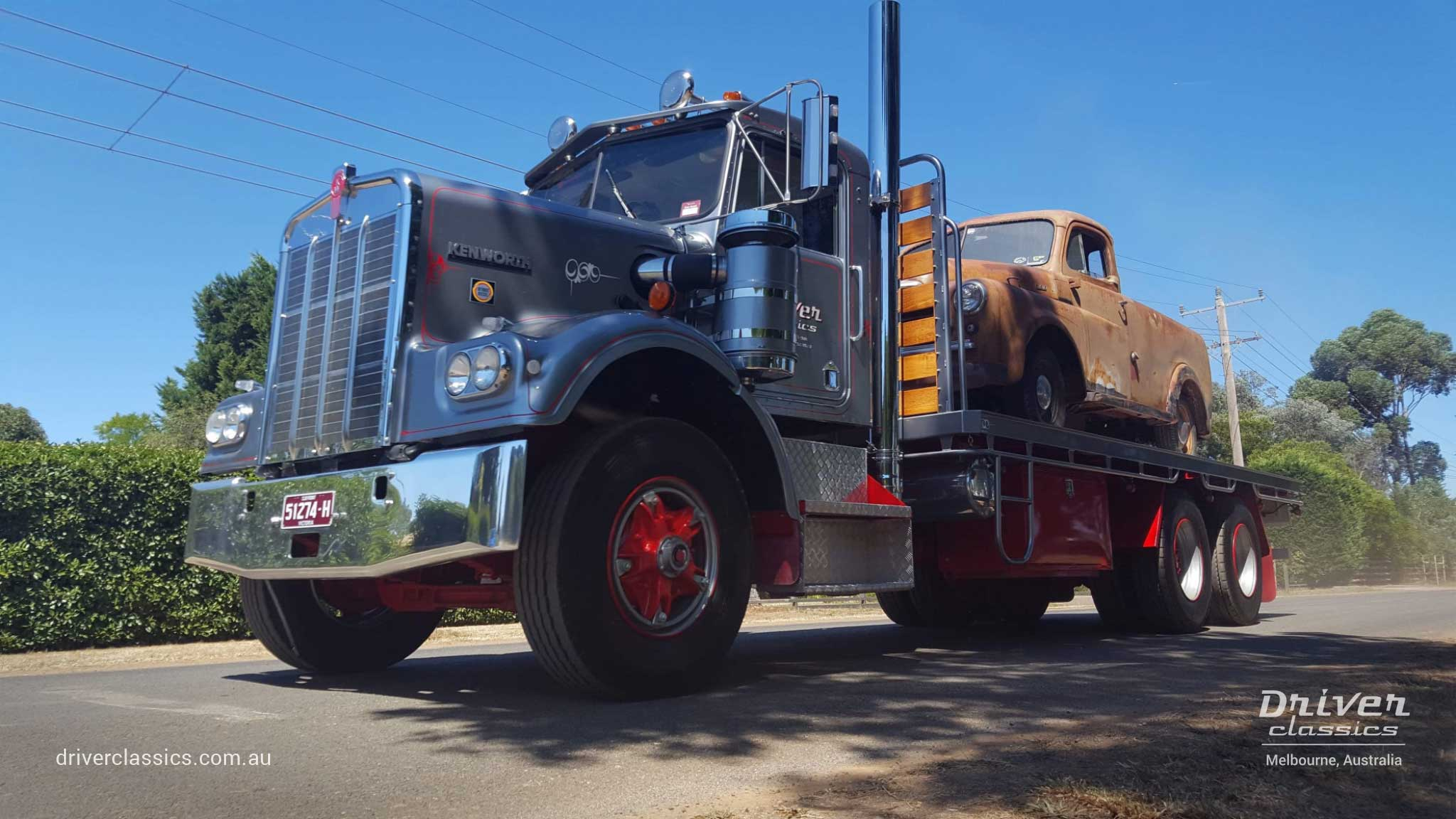 1977 Kenworth W925 S2 with 1950 Dodge on the back, Lancefield Victoria. Photo taken February 2019