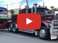 Kenworth W925AR truck (1986 model) towing a 1948 White 798-12 bus at, Mt Waverley VIC. Video taken November 2018